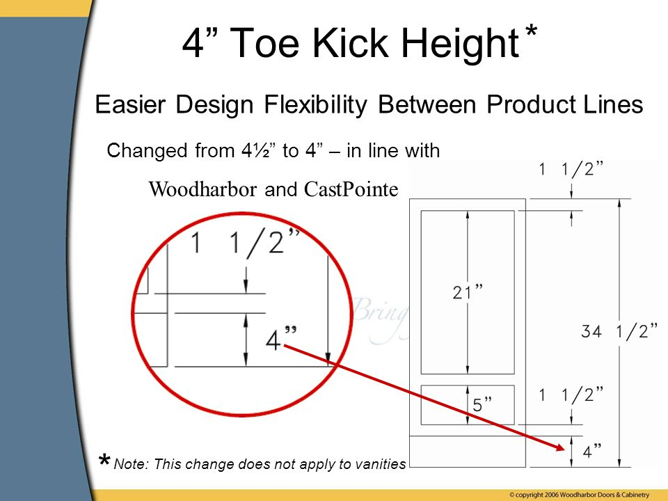 4 Toe Kick Height Changed from 4½ to 4 – in line with Woodharbor and CastPointe Note: This change does not apply to vanities * * Easier Design Flexibility Between Product Lines