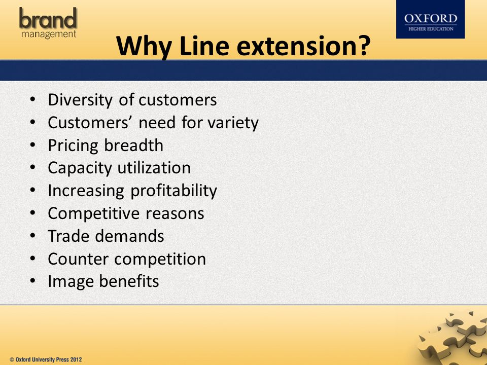 Why Line extension? Diversity of customers Customers' need for variety Pricing breadth Capacity utilization Increasing profitability Competitive reaso