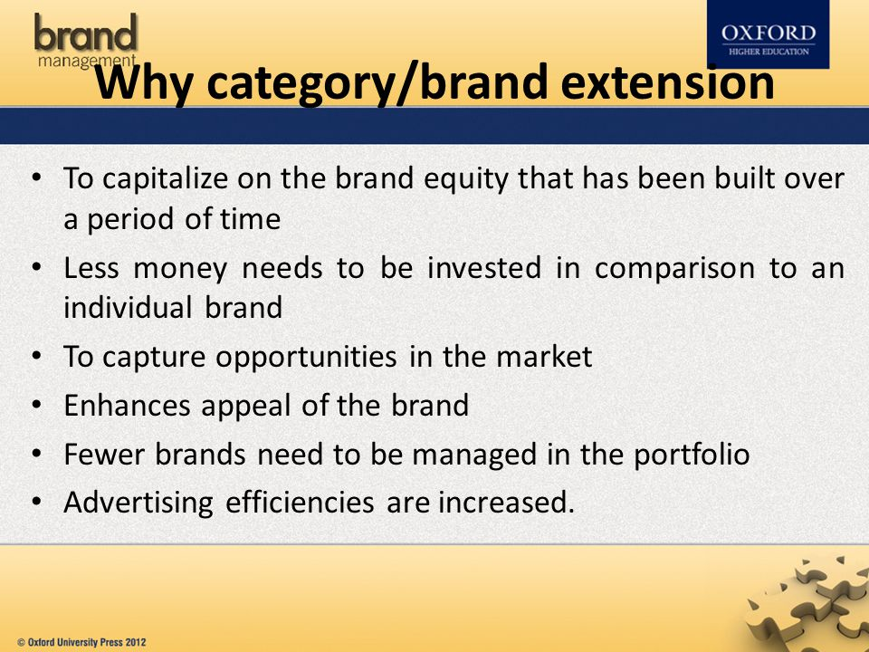 Why category/brand extension To capitalize on the brand equity that has been built over a period of time Less money needs to be invested in comparison
