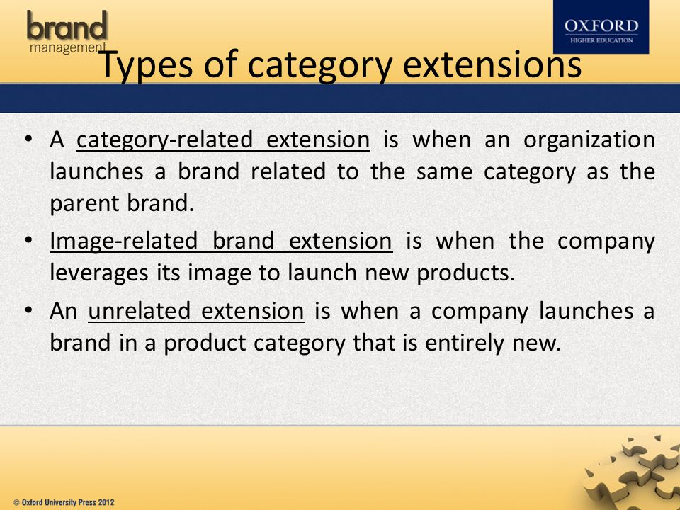 Types of category extensions A category-related extension is when an organization launches a brand related to the same category as the parent brand. I