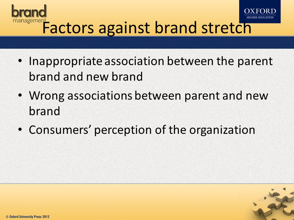 Factors against brand stretch Inappropriate association between the parent brand and new brand Wrong associations between parent and new brand Consume