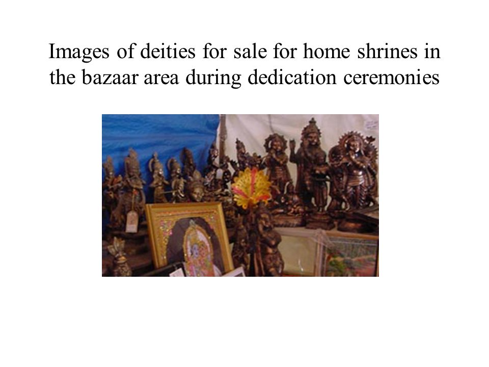 Images of deities for sale for home shrines in the bazaar area during dedication ceremonies