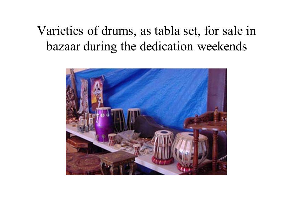 Varieties of drums, as tabla set, for sale in bazaar during the dedication weekends