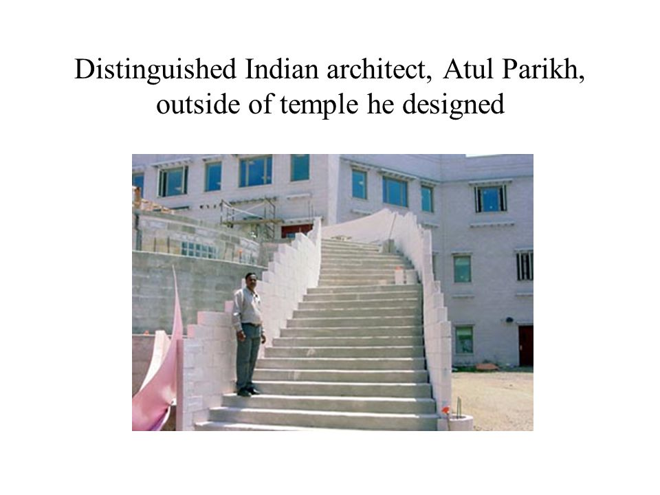 Distinguished Indian architect, Atul Parikh, outside of temple he designed