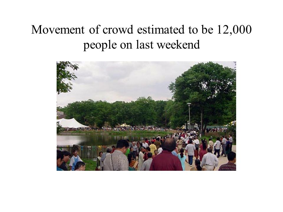 Movement of crowd estimated to be 12,000 people on last weekend