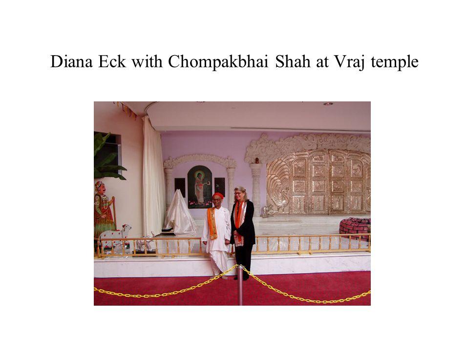 Diana Eck with Chompakbhai Shah at Vraj temple