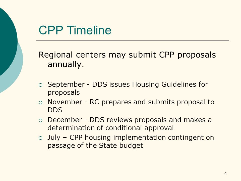 4 CPP Timeline Regional centers may submit CPP proposals annually.