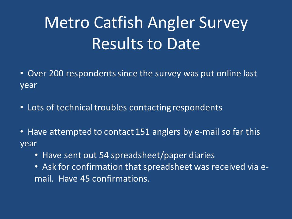Metro Catfish Angler Survey Results to Date Lots of technical troubles contacting respondents Have attempted to contact 151 anglers by e-mail so far this year Have sent out 54 spreadsheet/paper diaries Ask for confirmation that spreadsheet was received via e- mail.