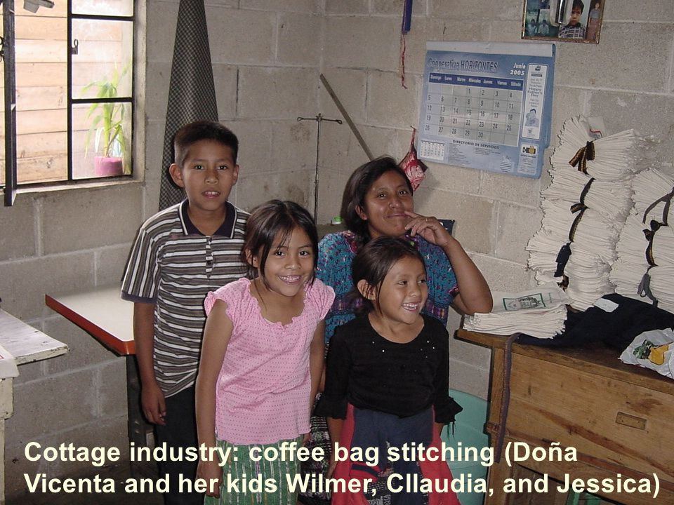 Cottage industry: coffee bag stitching (Doña Vicenta and her kids Wilmer, Cllaudia, and Jessica)