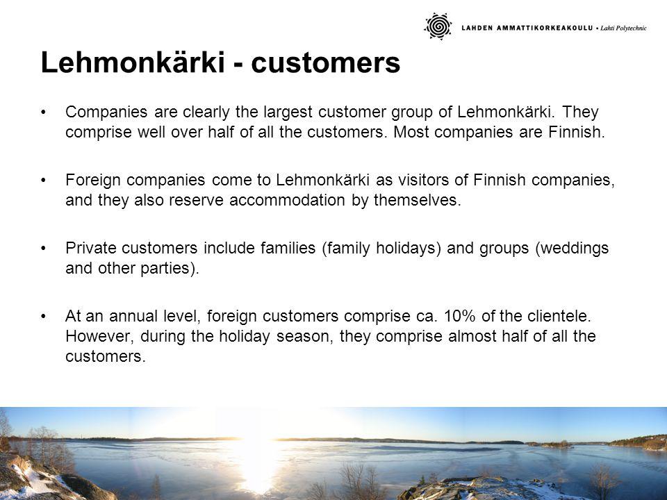 Lehmonkärki - customers Companies are clearly the largest customer group of Lehmonkärki.