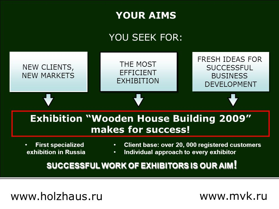 IEC Crocus Expo Moscow Organizer: MVK International Exhibition Company Supported by: Association of Wooden House Building Russian Association of Manufacturers and Consumers of Glulam Structures www.holzhaus.ru www.mvk.ru