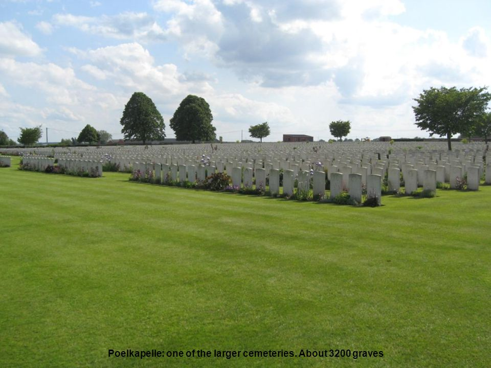 Poelkapelle: one of the larger cemeteries. About 3200 graves