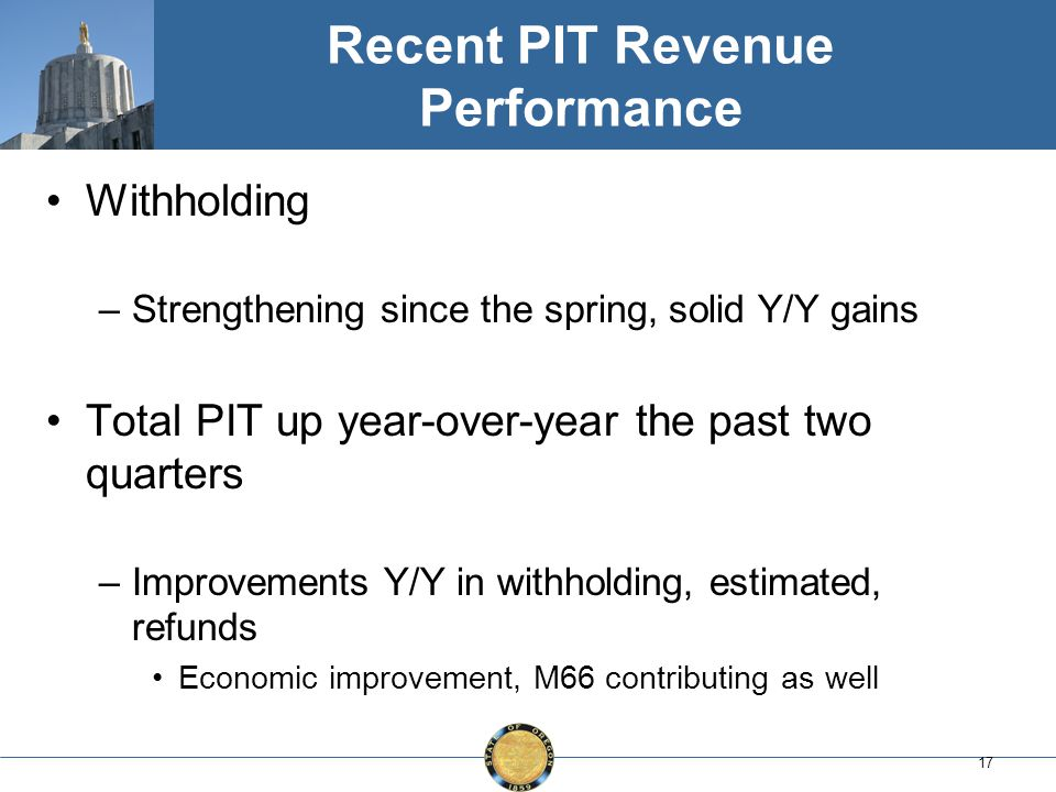 17 Recent PIT Revenue Performance Withholding –Strengthening since the spring, solid Y/Y gains Total PIT up year-over-year the past two quarters –Improvements Y/Y in withholding, estimated, refunds Economic improvement, M66 contributing as well