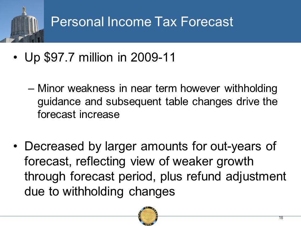 18 Personal Income Tax Forecast Up $97.7 million in 2009-11 –Minor weakness in near term however withholding guidance and subsequent table changes drive the forecast increase Decreased by larger amounts for out-years of forecast, reflecting view of weaker growth through forecast period, plus refund adjustment due to withholding changes