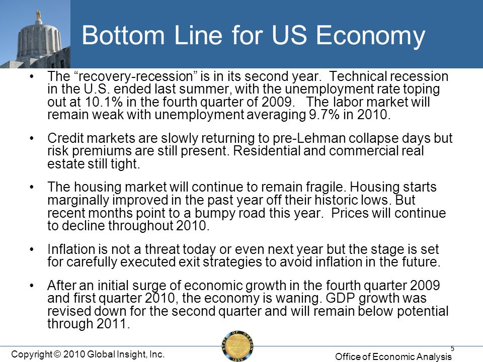 55 Bottom Line for US Economy The recovery-recession is in its second year.
