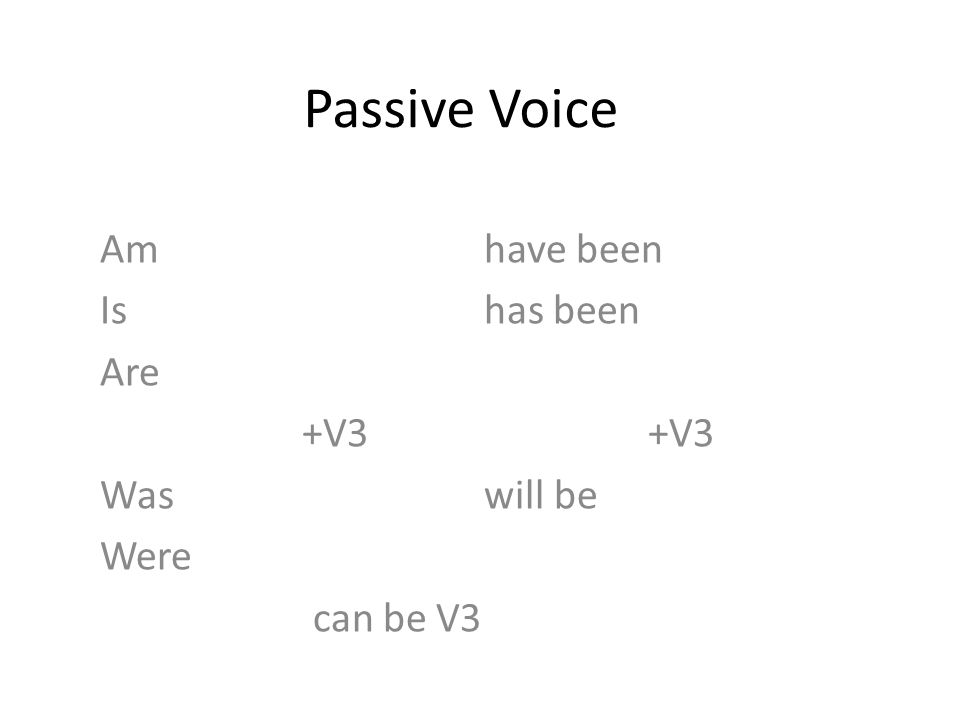 Passive Voice Amhave been Ishas been Are +V3 +V3 Was will be Were can be V3