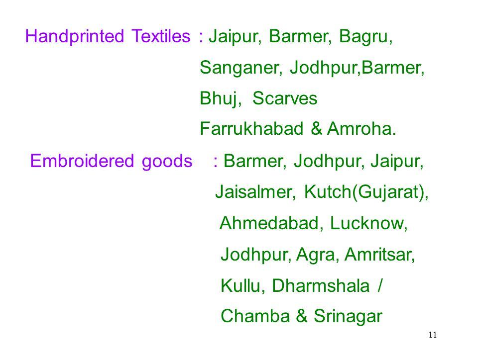 11 Handprinted Textiles : Jaipur, Barmer, Bagru, Sanganer, Jodhpur,Barmer, Bhuj, Scarves Farrukhabad & Amroha.