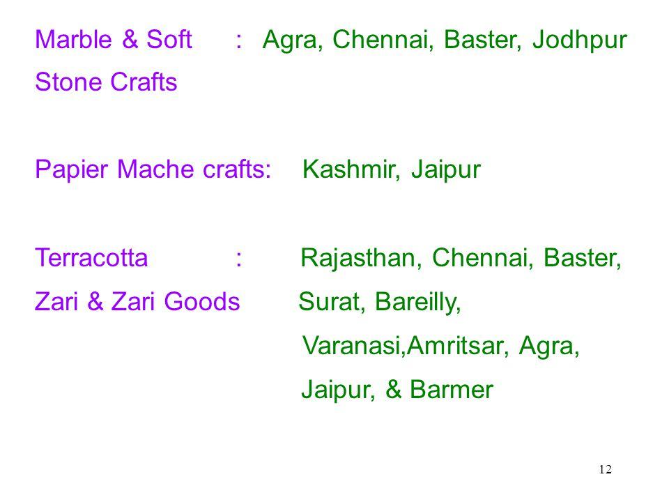 12 Marble & Soft : Agra, Chennai, Baster, Jodhpur Stone Crafts Papier Mache crafts:Kashmir, Jaipur Terracotta : Rajasthan, Chennai, Baster, Zari & Zari Goods Surat, Bareilly, Varanasi,Amritsar, Agra, Jaipur, & Barmer
