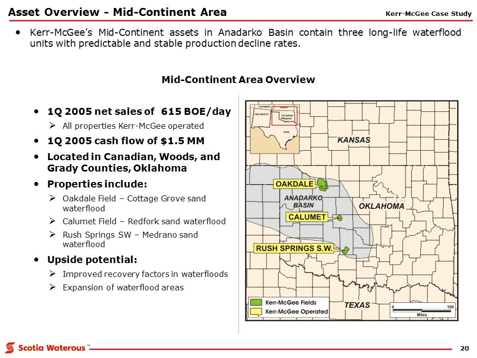 20 Asset Overview - Mid-Continent Area Mid-Continent Area Overview Kerr-McGee's Mid-Continent assets in Anadarko Basin contain three long-life waterfl