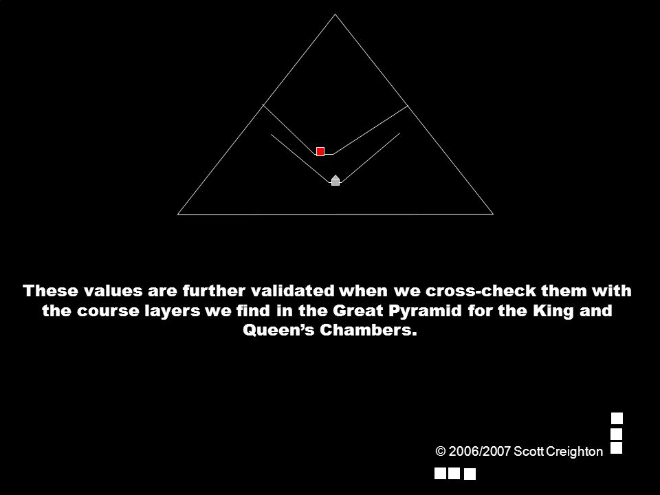 These values are further validated when we cross-check them with the course layers we find in the Great Pyramid for the King and Queen's Chambers.