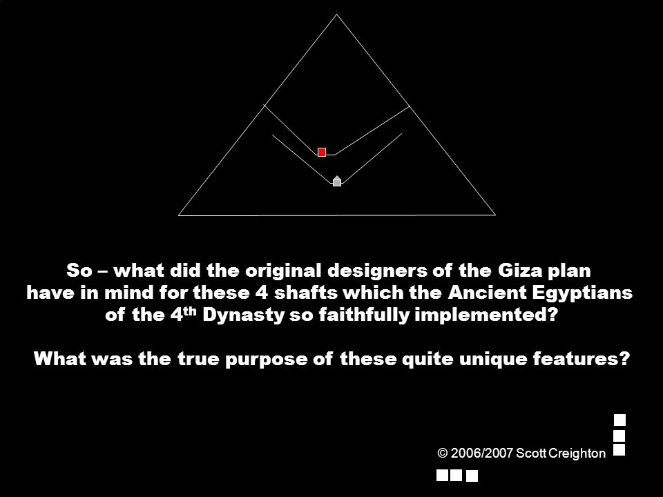 So – what did the original designers of the Giza plan have in mind for these 4 shafts which the Ancient Egyptians of the 4 th Dynasty so faithfully implemented.