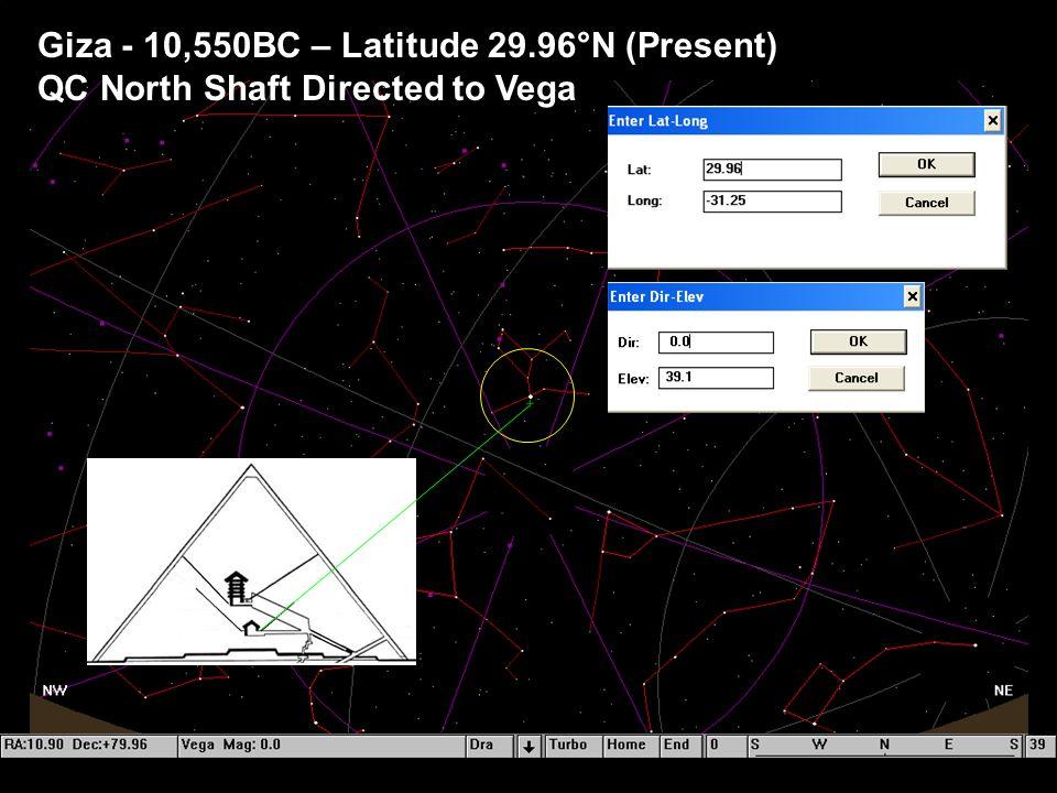 Giza - 10,550BC – Latitude 29.96°N (Present) QC North Shaft Directed to Vega