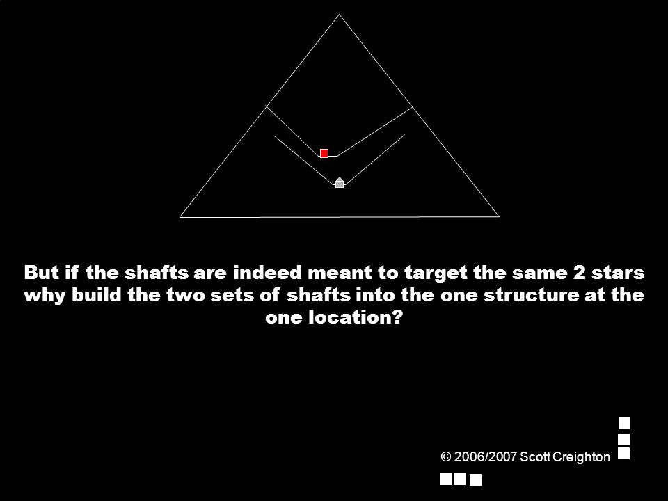 But if the shafts are indeed meant to target the same 2 stars why build the two sets of shafts into the one structure at the one location.