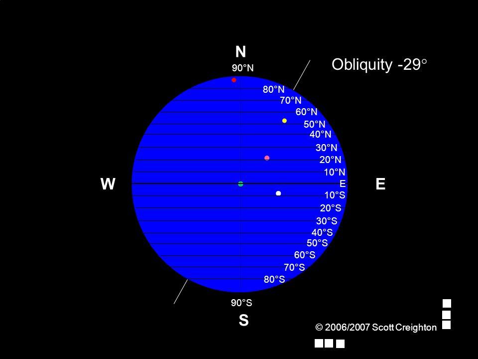 © 2006/2007 Scott Creighton E Obliquity -29° W S N 70°N 80°N 90°N E 10°N 20°N 30°N 40°N 50°N 60°N 10°S 90°S 20°S 30°S 40°S 50°S 60°S 70°S 80°S