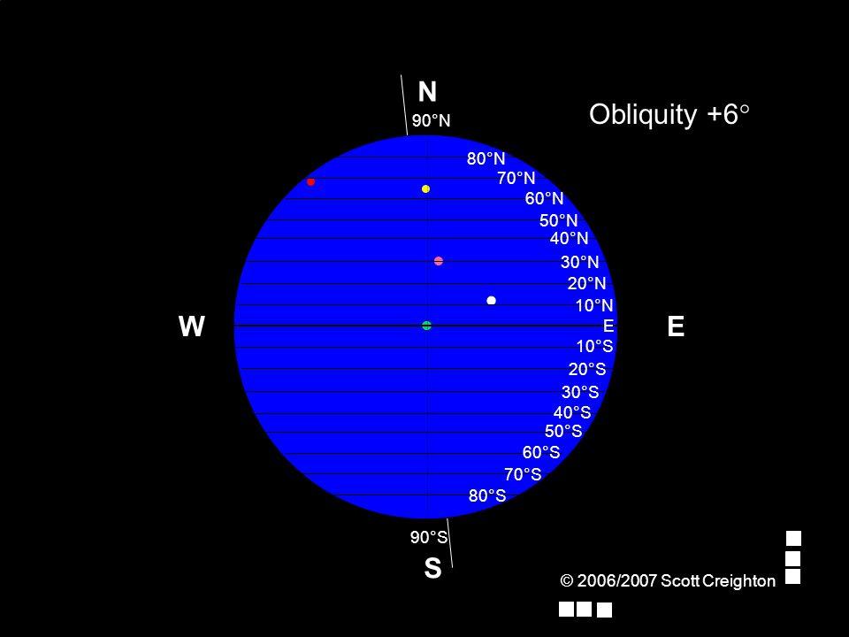 © 2006/2007 Scott Creighton E Obliquity +6° W S N 70°N 80°N 90°N E 10°N 20°N 30°N 40°N 50°N 60°N 10°S 90°S 20°S 30°S 40°S 50°S 60°S 70°S 80°S