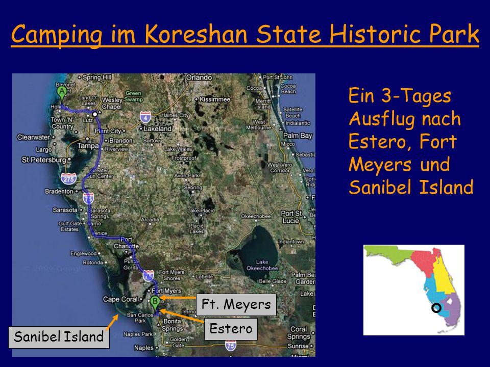 Camping im Koreshan State Historic Park Ein 3-Tages Ausflug nach Estero, Fort Meyers und Sanibel Island Sanibel Island Ft.
