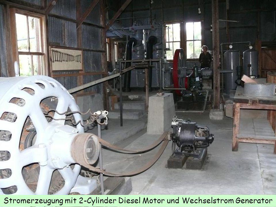 Stromerzeugung mit 2-Cylinder Diesel Motor und Wechselstrom Generator
