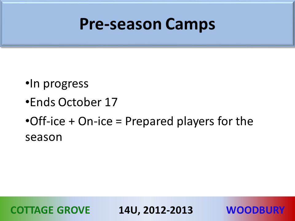 COTTAGE GROVEWOODBURY14U, 2012-2013 Pre-season Camps In progress Ends October 17 Off-ice + On-ice = Prepared players for the season