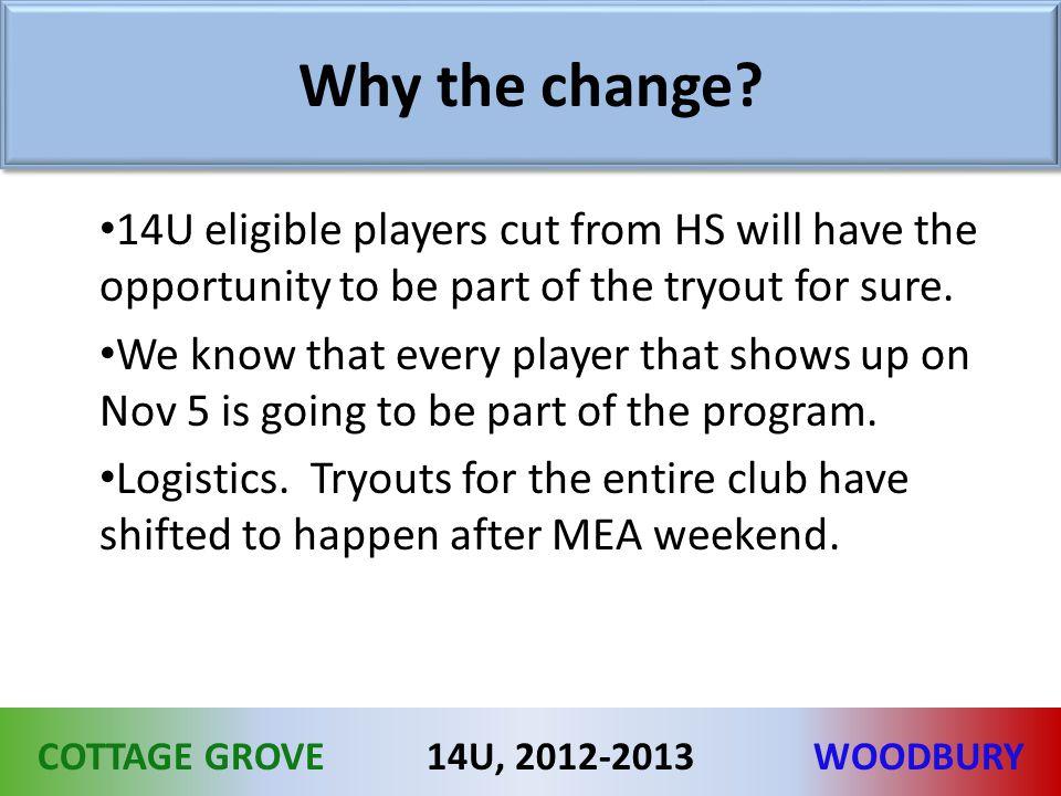 COTTAGE GROVEWOODBURY14U, 2012-2013 Why the change.