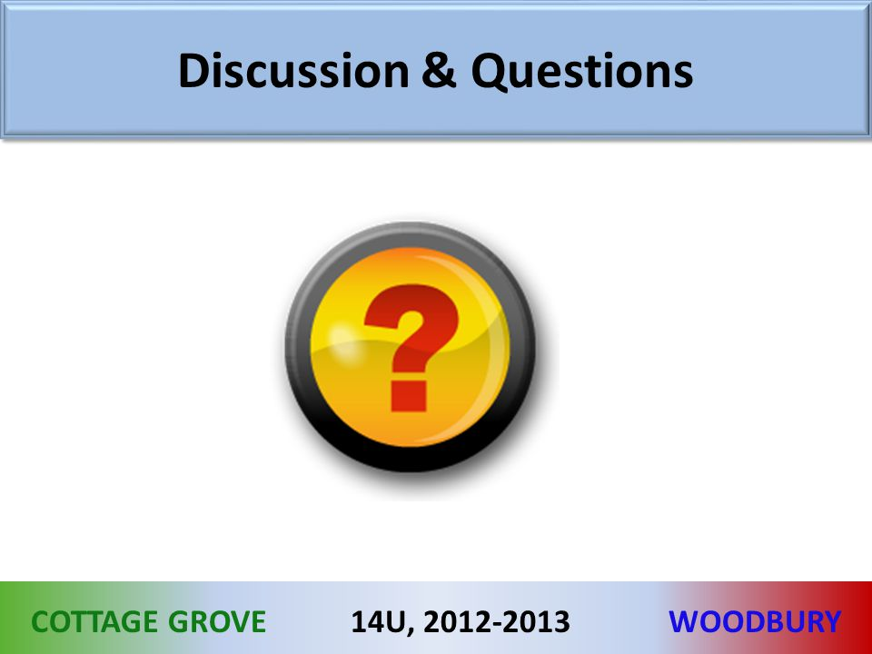 COTTAGE GROVEWOODBURY14U, 2012-2013 Discussion & Questions