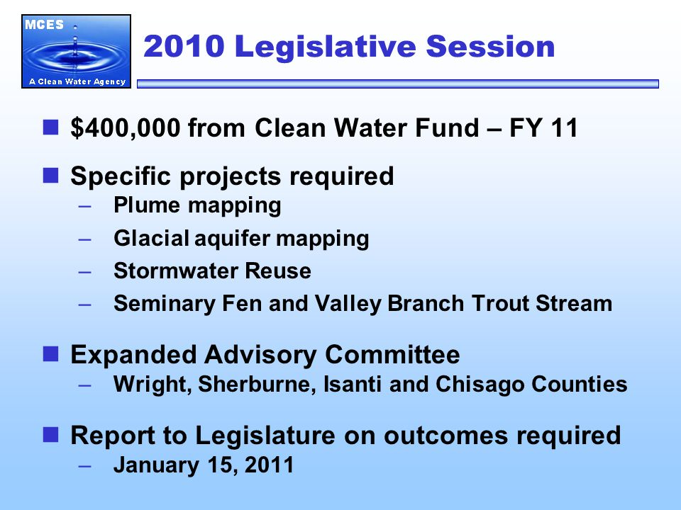 Future Projects Evaluation of water use and conservation effectiveness Local assessments –Western Scott County –Northeast Metro Water quality impacts of stormwater infiltration Metro Model recalibration and scenario development
