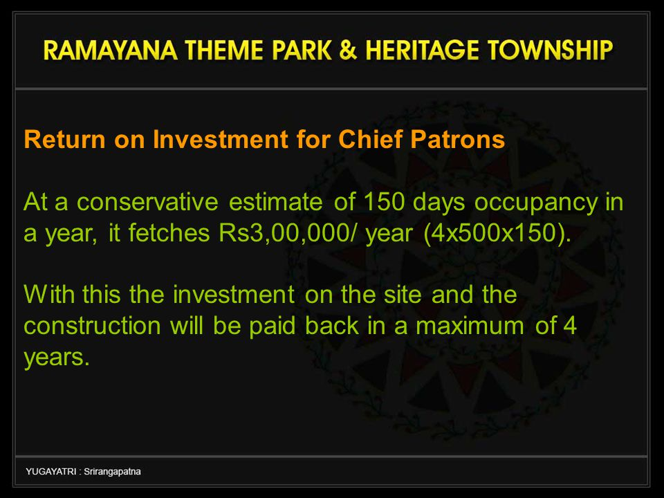 Return on Investment for Chief Patrons At a conservative estimate of 150 days occupancy in a year, it fetches Rs3,00,000/ year (4x500x150).