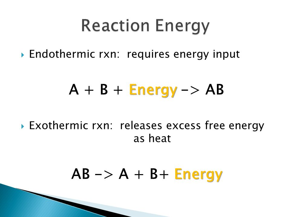  Endothermic rxn: requires energy input Energy A + B + Energy -> AB  Exothermic rxn: releases excess free energy as heat Energy AB -> A + B+ Energy