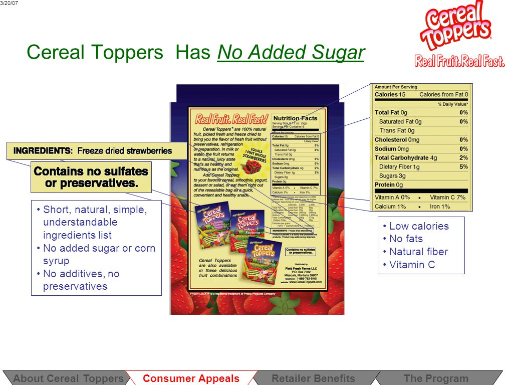 3/20/07 Cereal Toppers Has No Added Sugar Low calories No fats Natural fiber Vitamin C Short, natural, simple, understandable ingredients list No added sugar or corn syrup No additives, no preservatives About Cereal ToppersThe ProgramRetailer Benefits Consumer Appeals