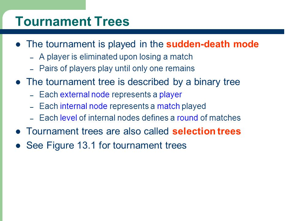4 4 Winner Trees Definition A winner tree for n players is a complete binary tree with n external nodes and n-1 internal nodes.