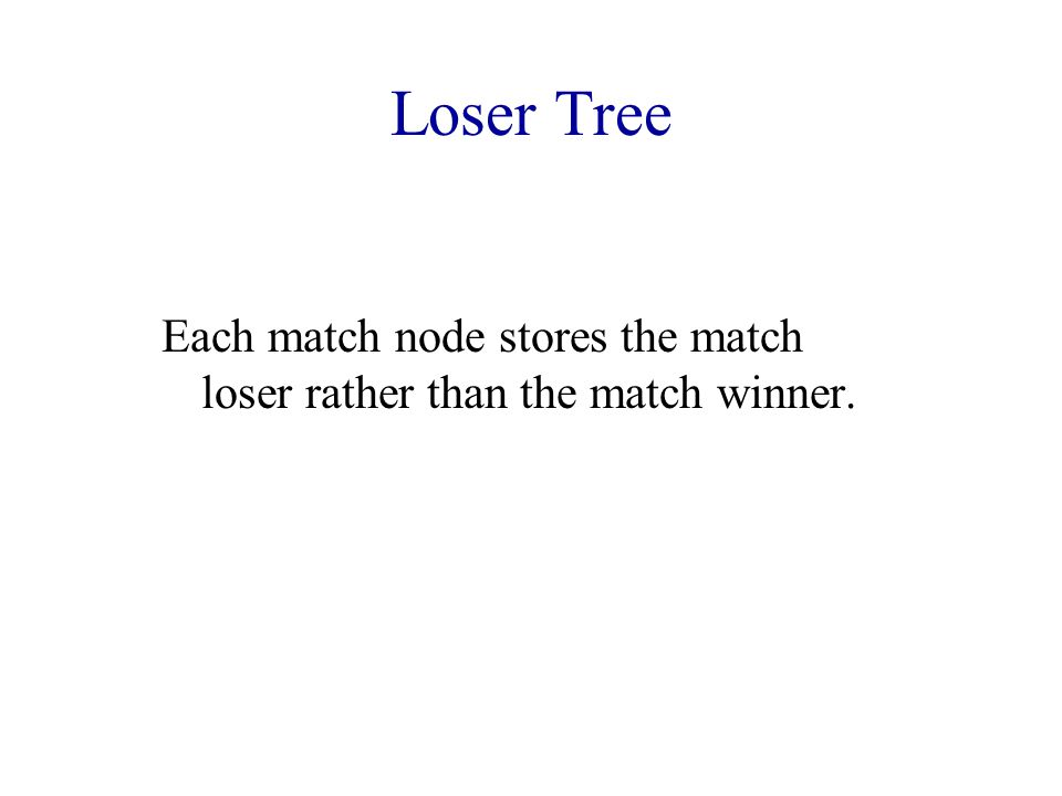 Loser Tree Each match node stores the match loser rather than the match winner.