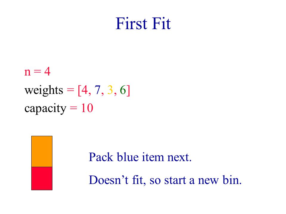 First Fit n = 4 weights = [4, 7, 3, 6] capacity = 10 Pack blue item next. Doesn't fit, so start a new bin.