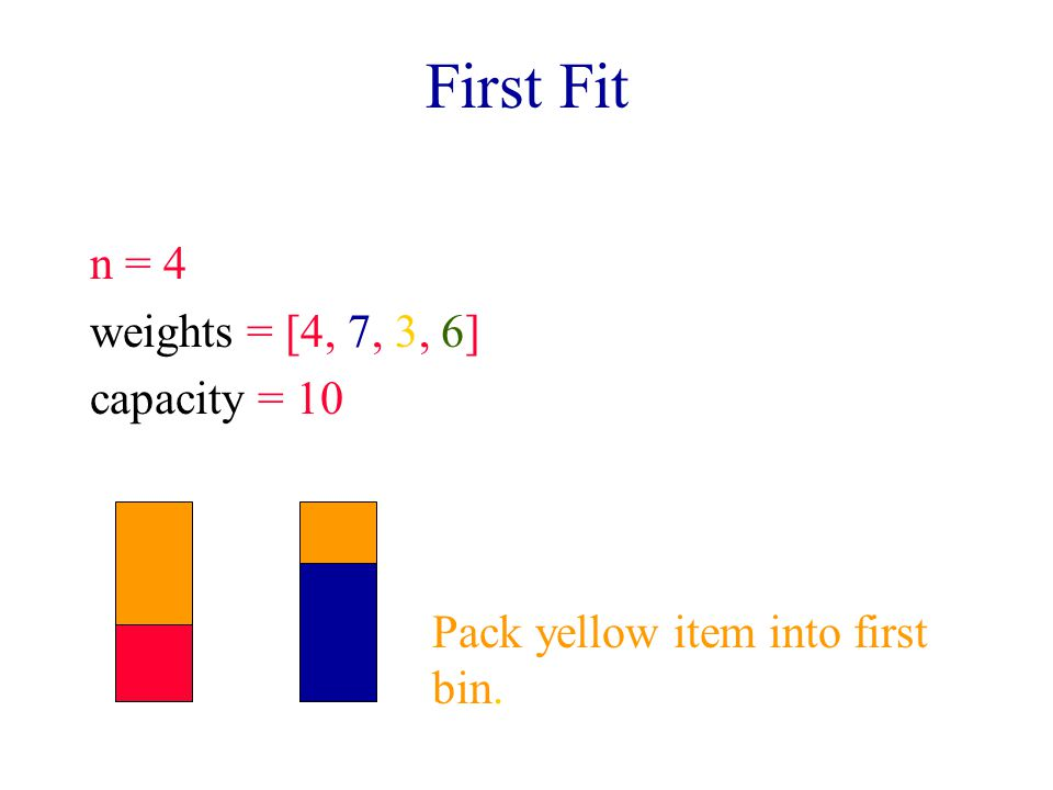 First Fit n = 4 weights = [4, 7, 3, 6] capacity = 10 Pack yellow item into first bin.