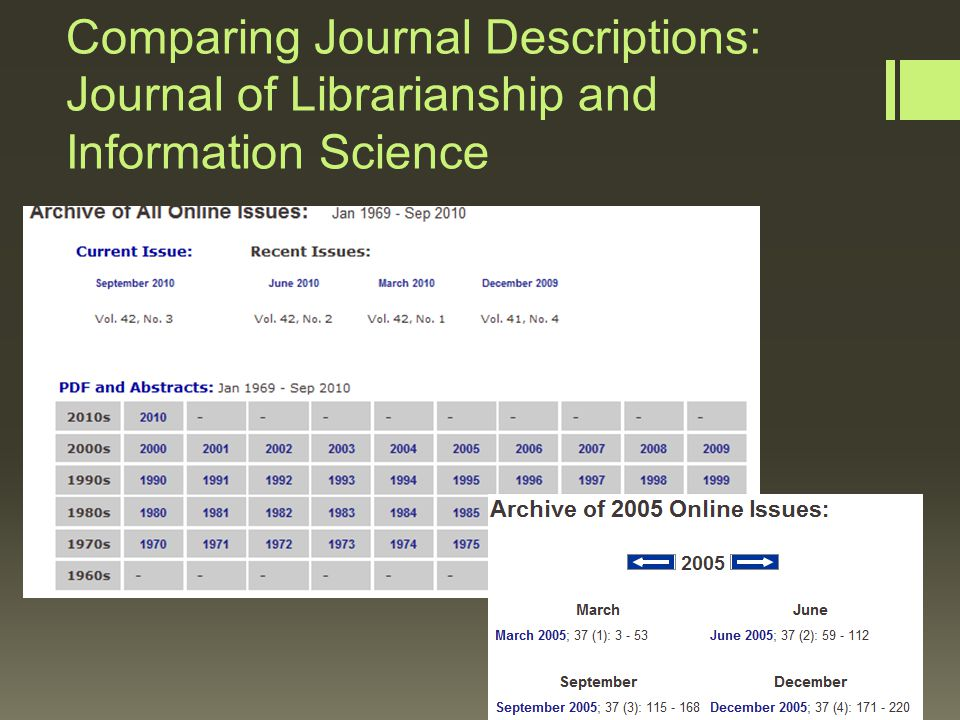 Comparing Journal Descriptions: Journal of Librarianship and Information Science