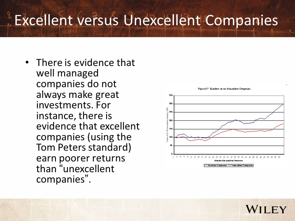 Excellent versus Unexcellent Companies There is evidence that well managed companies do not always make great investments. For instance, there is evid