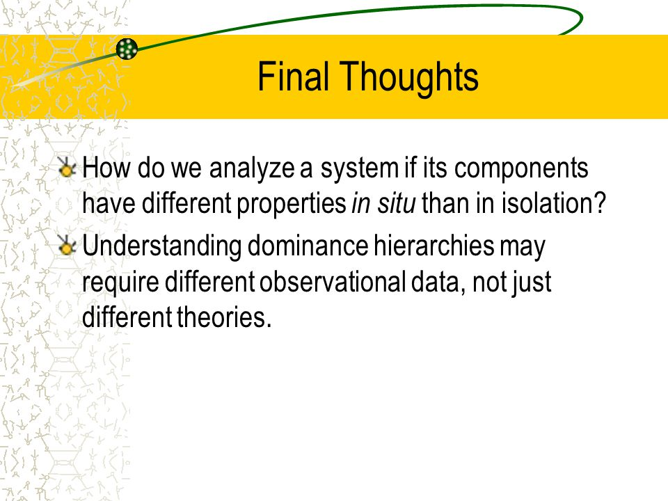 Final Thoughts How do we analyze a system if its components have different properties in situ than in isolation.