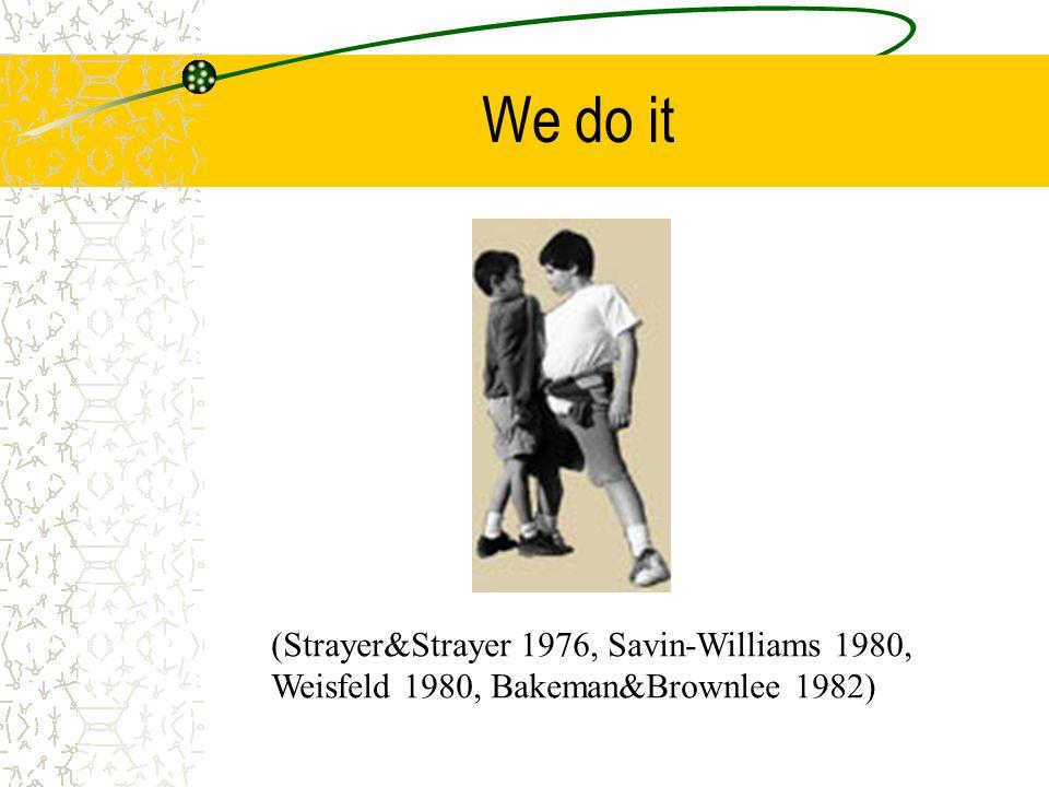 We do it (Strayer&Strayer 1976, Savin-Williams 1980, Weisfeld 1980, Bakeman&Brownlee 1982)