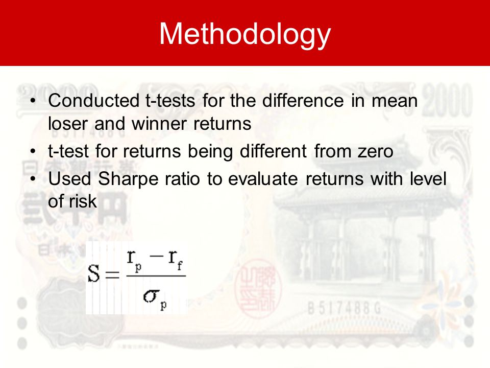 Methodology Conducted t-tests for the difference in mean loser and winner returns t-test for returns being different from zero Used Sharpe ratio to evaluate returns with level of risk
