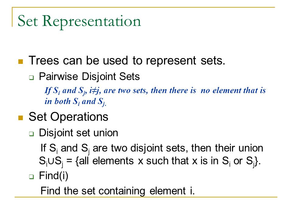 Set Representation Trees can be used to represent sets.