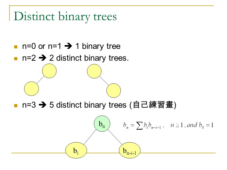 Distinct binary trees n=0 or n=1  1 binary tree n=2  2 distinct binary trees.
