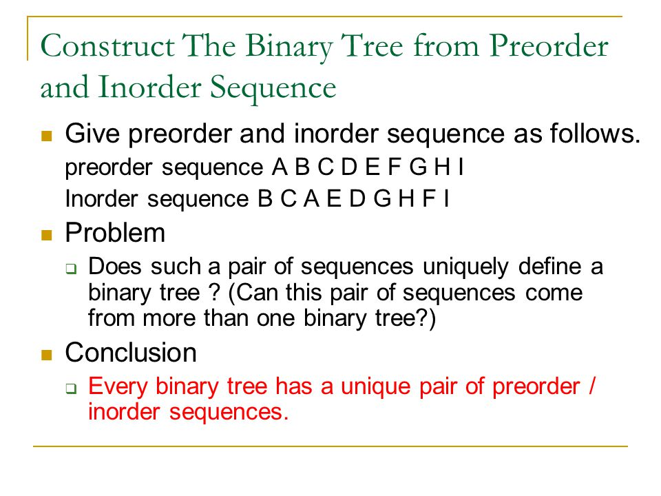 Construct The Binary Tree from Preorder and Inorder Sequence Give preorder and inorder sequence as follows.